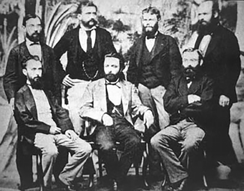 Members of the Academia Nacional de Ciencias (Córdoba) in 1876. Sitting, from left to right: Hendrik Weyenbergh (zoologist), Francisco Latzina (mathematician and geographer), Oscar Döring (physician); standing: Jorge Hieronymus (botanist), Luis Brackebusch (geologist), Adolfo Döring (chemist and geologist). photo: Wikipedia